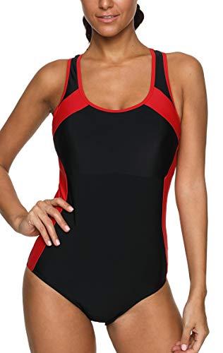 Anwell Damen sportlich einteilig Schwimmanzug Sport Training Bademode Schwarz Rot XL