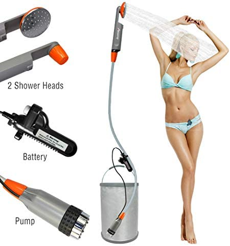 LUOOV [Upgraded] Portable Camping Shower,Compact Shower Pump with USB Rechargeable Battery, Handheld Outdoor Shower Head for Camping, Hiking, Traveling,w/3.7V Pump, 6-Ft Hose,Bidet Head