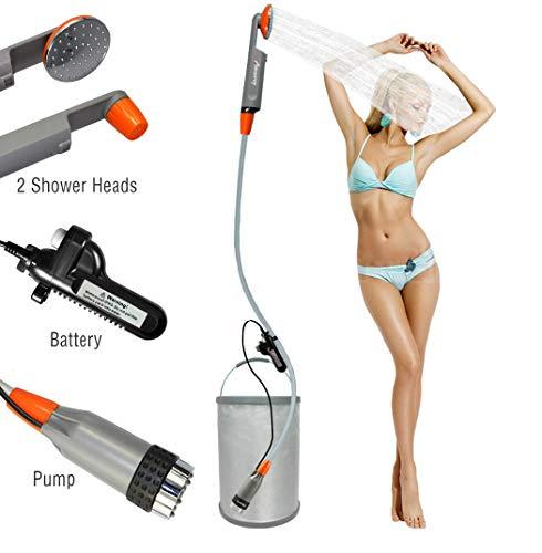 LUOOV - Bomba de ducha portátil para acampada, con dos pilas USB desmontables, cabezal de ducha portátil para camping, senderismo, viajes, uso portátil, mejorada