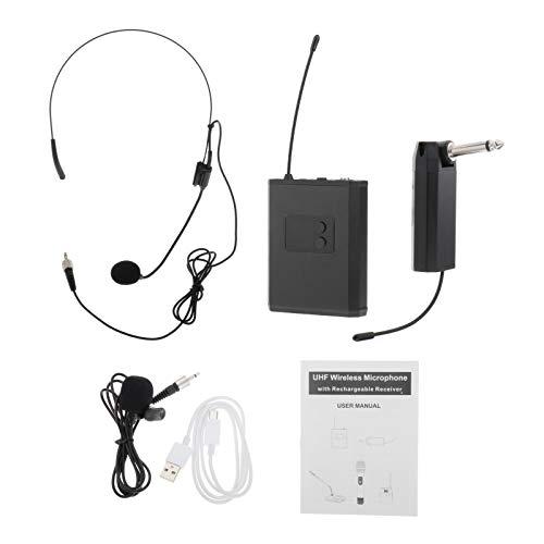 freneci Micrófono Inalámbrico de Mano UHF, Conjunto de Solapa, Petaca, Receptor, Grabación de Voz - negro