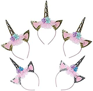 Unicorn Party Favor Supplies 5 Pack Unicorn Gold Silver Horn Headbands Animal Photo Props with Glitter Ears, Unicorn Theme Birthday Cosplay for Girls Children Gift Christmas Halloween Party Costume