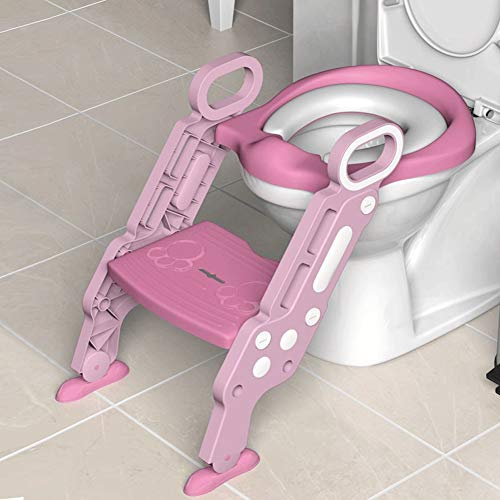 LMAKDU Kid's Ladder Toiletbril - Potty Training Ladder Met 2 Stallen Verstelbare Ladder Badkamer Potty Training Seat roze