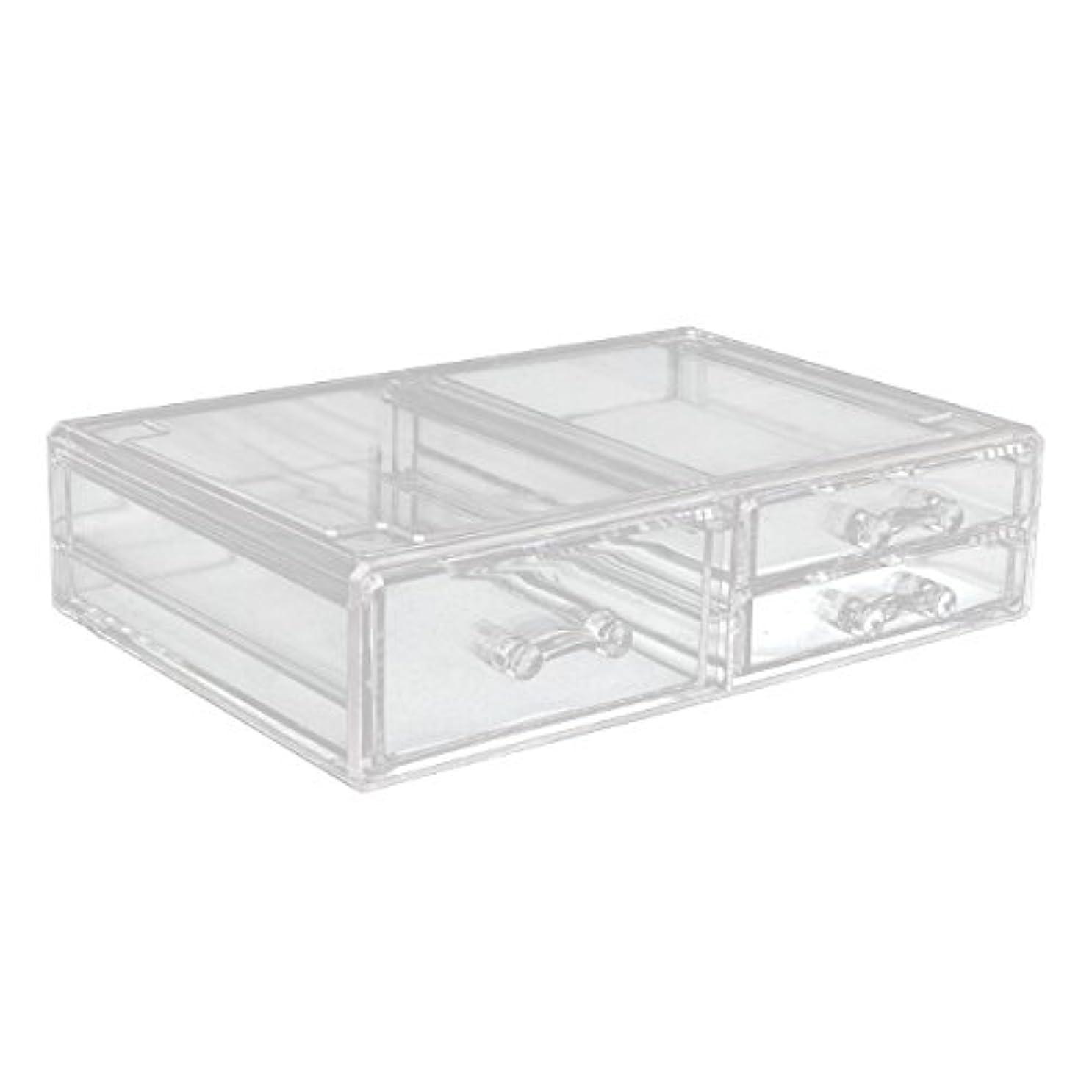 パンチサイドボード干ばつアクリルケース 収納ケース 深型引き出し×1 小引き出し×2 Lサイズ コスメボックス ディスプレイ_87260
