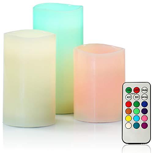 com-four® Vela LED 3X en Diferentes tamaños - Velas LED con función de Temporizador - Velas de Cera Real con Control Remoto y Muchas configuraciones de Color (3 Piezas - Blanco)