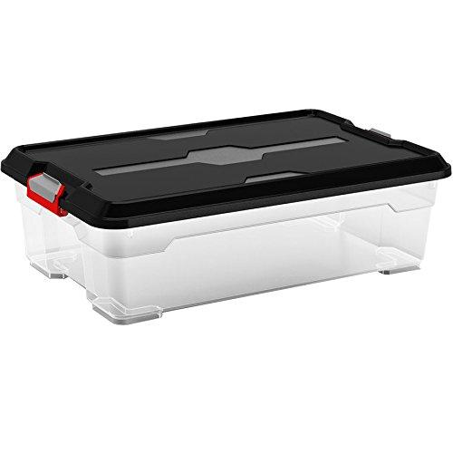 Kis 8462000 0271 02 Boîte de Rangement Moover Box 27 litres en Noir-Transparent, Plastique, 58x38x18 cm
