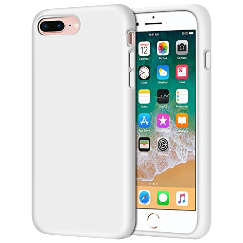iPhone 8 Plus Case, iPhone 7 Plus Case, Anuck Soft Silicone Gel Rubber Bumper Case Microfiber Lining Hard Shell Shockproof Full-Body Protective Case Cover for iPhone 7 Plus /8 Plus 5.5' - White