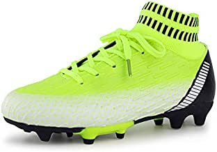 Hawkwell Kids Outdoor Soccer Cleats High-top Sock Ankle Care Performance Soccer Boots(Toddler/Little Kid/Big Kid), Neon Green PU, 11 M US
