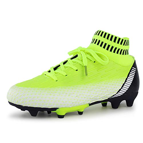 Hawkwell Kids Outdoor Soccer Cleats High-top Sock Ankle Care Performance Soccer Boots(Toddler/Little Kid/Big Kid), Neon Green PU, 3.5 M US