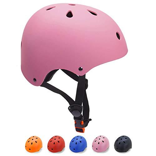 KORIMEFA Casco Bicicleta para Niños Casco Infantil Ajustable para Monopatín Patinaje BMX Esquiar, Casco para multibles Deportes niño niña de Edad de 3-13 años (Rosa, S)