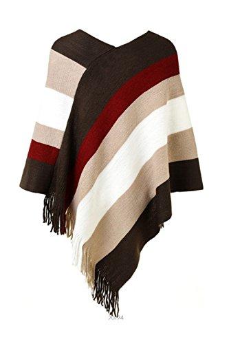 Vemubapis Frauen, Jahrgang 1940, Elegante Ist Herbst - Winter Colorblock Tassel Patchwork - Mantel Umhänge Blusen Ireegular Schals Grüne Größe Beiger One Size