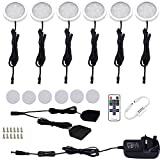AIBOO LED Kitchen Under Cabinet Lighting Kit Dimmable with Wireless RF Remote,UK Plug,6 Pack Round Display 240V LED Puck Lights,12W Under Cupboard Counter Shelf Lights(Warm White 2700K)