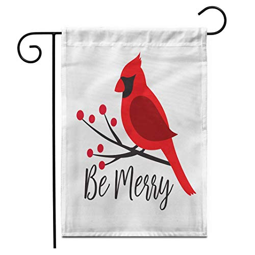 12.5'x 18' Garden Flag Red Cardinal Bird on a Winterberry Branch Christmas Winter Bird on a Tree Graphic Outdoor Double Sided Decorative House Yard Flags