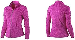 BEESCLOVER Women's Sports Jacket Stand Collar Ruched Outerwear Sportswear Ladies Shirt Running Yoga Fitness Sweater Upperwear Pink S