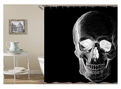 AnazoZ Duschvorhang Anti-Schimmel, Wasserdicht Vorhänge an Badewanne Antibakteriell, Bad Vorhang für Dusche 3D Totenkopf, 100prozent PEVA, inkl. 12 Duschvorhangringen 180 x 200 cm