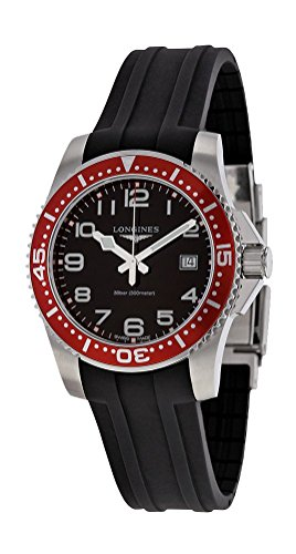 Longines Hydroconquest Quartz Stainless Steel Mens Strap Watch Red Bezel L3.689.4.59.2