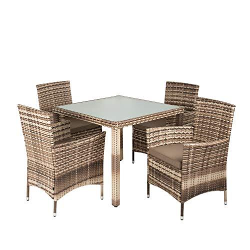 IHD Polyrattan Gartenmöbel Set Sitzgruppe Rattan Gartenset Essgruppe Stuhl Tisch Set Garten Tisch und Stuhl Set 4 Personen Glas Glastisch (Beige-Braun)