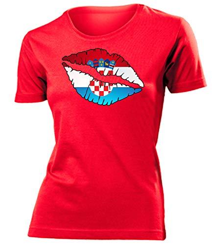 Kroatien Croatia Hrvatska Fan t Shirt Artikel 6067 Fuss Ball EM 2020 WM 2022 Team Trikot Look Flagge Fahne lopta nogomet Frauen Damen Mädchen S