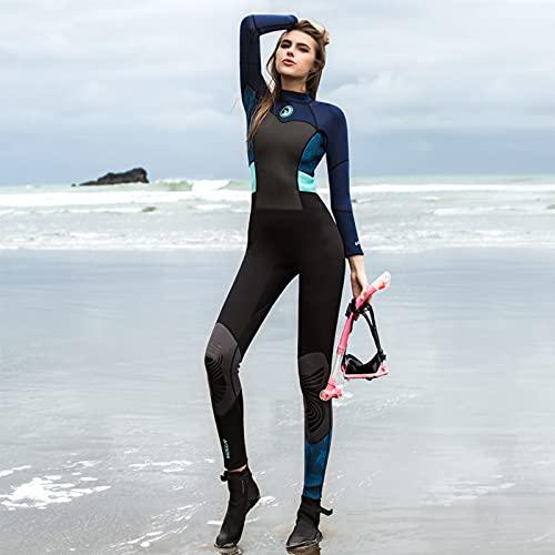 Oukerde Traje de Neopreno de una Pieza para Mujer,Estampado de Moda para Adultos,Manga Larga,Surf,Buceo,Cremallera Trasera,cómodo Traje de baño,natación,Snorkel,Traje de Surf