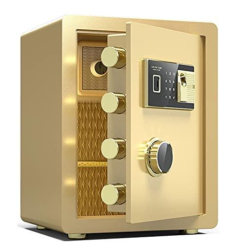 Caja Fuerte De Seguridad Electrónica Ignífuga Y Antirrobo De Acero-45cm, Caja Fuerte De Huellas Dactilares Y Contraseña Digital con Llave De Seguridad, con Sistema De Alarma (Color : Gold)