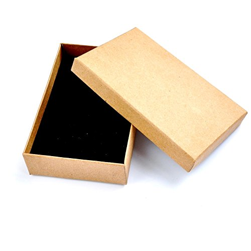 Chelsea Jones 12 x Pack Natural Brown Paper Gift Boxes with Black Inserts - Ideal for Crafting/Jewellery etc. Wholesale/Bulk Buy