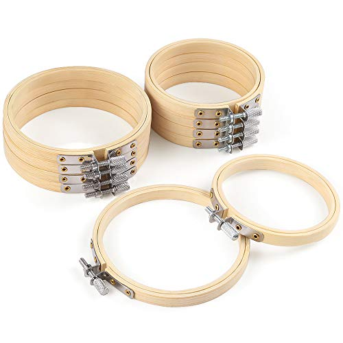 Caydo 10 Piece 3 Inch and 4 Inch Embroidery Hoops Bamboo Circle Cross Stitch Hoop Ring for Daily Ornament Art Craft Handy Sewing