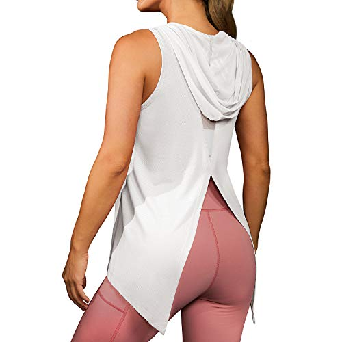 DIRASS Women's Workout Tops Tank Tops for Women Workout Shirts for Women Tennis Tops(White,Large)