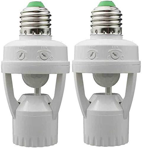 motion activated light controls EEEKit 2 Pack Motion Sensor Light Socket, E26/E27 Motion Daylight Sensor Light Control Socket, Motion-Activated Dusk to Dawn Bulb Socket Adapter for Porch Basement Garage Storage Room Closet