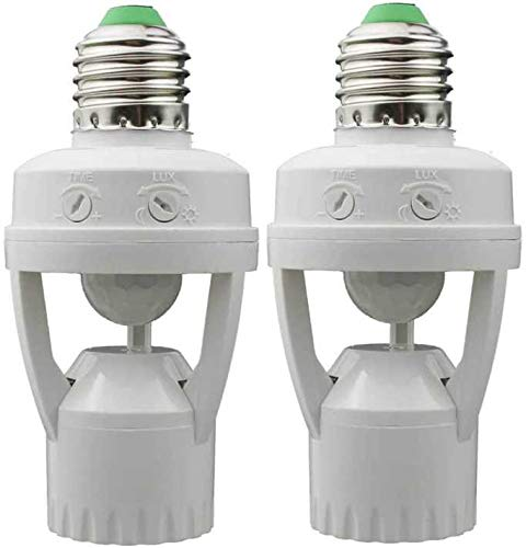EEEKit 2 Pack Motion Sensor Light Socket, E26/E27 Motion Daylight Sensor Light Control Socket, Motion-Activated Dusk to Dawn Bulb Socket Adapter for Porch Basement Garage Storage Room Closet