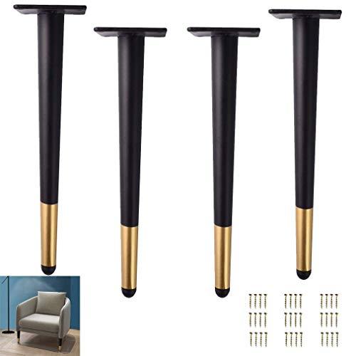 4 patas negras para muebles, patas de metal, patas cónicas, patas de armario, pie para silla de lectura, pie de hierro, para mesas de centro (color: recto, tamaño: 72 cm)