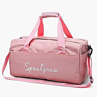 QinMei Zhou Waterproof Nylon Sports Gym Bags for Women Men Fitness Training Suitcases and Yoga Travel Sports Doormat Travel Duffel Weekend Bag (Colore : Pink, Size : M)