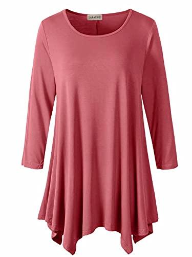 LARACE Womens Swing Tunic Tops Loose Fit Comfy Flattering T Shirt(3X, Grayish Pink)