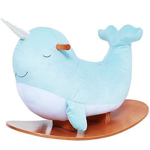 labebe Baby Schaukelpferd Holz Plüsch Schaukeltier Wal mit Einhorn Kinder Schaukelspielzeug Plüschtier Spielzeug Schaukelstuhl für 1-3 Jahre