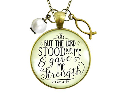 Gutsy Goodness 36' Jesus Fish Faith Necklace Lord Stood Gave Strength Christian Jewelry