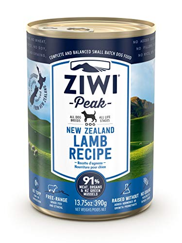 ZIWI Peak Canned Wet Dog Food – All Natural, High Protein, Grain Free, Limited Ingredient, with Superfoods (Lamb, Case of 12, 13.75oz Cans)