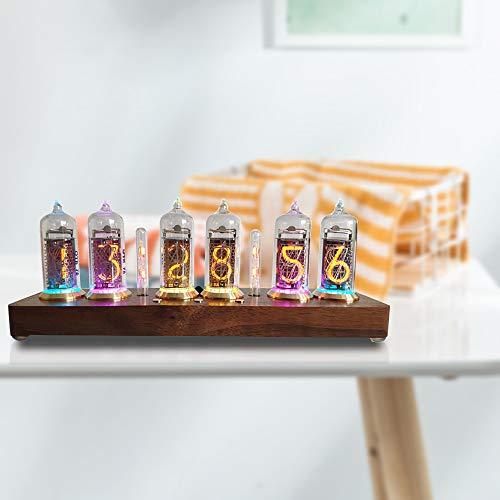 SEAAN Reloj Digital LED Nixie, Reloj Virtual Nixie, Creativo Reloj Digital de Color Variable, lámpara Luminosa con Ajustable de 10,000 Colores, Regalo Escolar de Navidad, cumpleaños