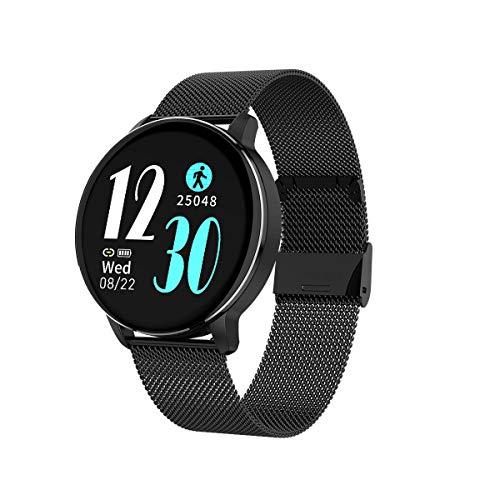 Aliwisdom Smartwatch per uomo donna bambini, 1,3   rotondo Smartwatch Fitness Tracker impermeabile orologio fitness Cinturino in metallo per iphone Android, con Promemoria intelligente (Nero)