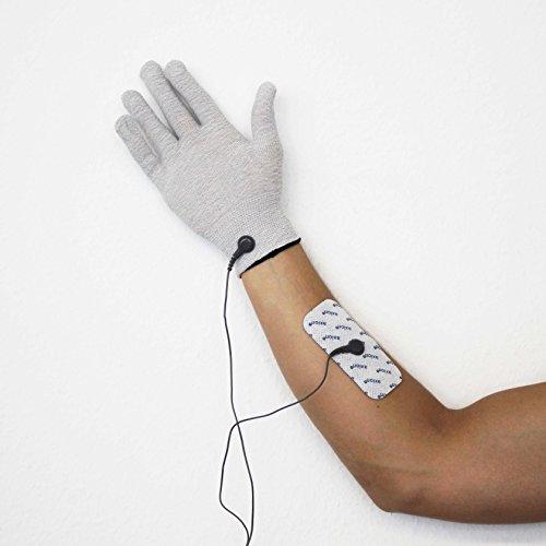 2 Reizstrom-Handschuhe + 4 Elektroden-Pads (100x50mm) passend zu TENS - EMS Geräten: Sanitas SEM 40,41,42,43,44