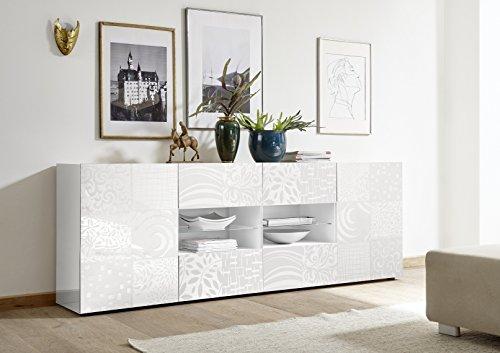 Arredocasagmb.it Mobile Contenitore 2 Ante 4 cassetti Moderno Bianco Lucido Ante con Serigrafia Soggiorno Madia Buffet con sportelli Design Mira 08