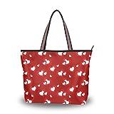 Ahomy Bolsas de mano para mujer, día de San Valentín, corazón rojo, gran capacidad, asa superior, bolsos y bolsos, color Multicolor, talla M