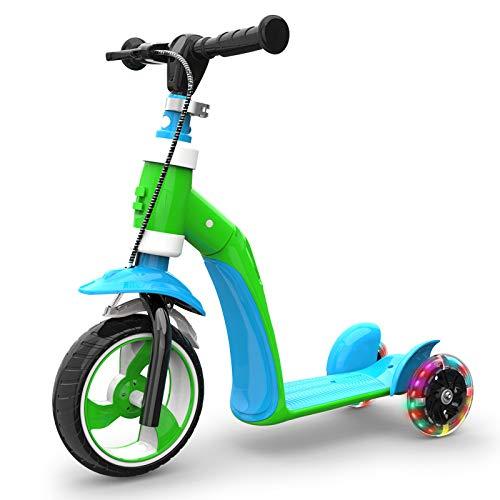 LITIAN 1-3 Jahre alt Kinder Scooter Can Sit Kind Baby Multi-Funktions-DREI-Rad-Flash-Scooter Blue Green