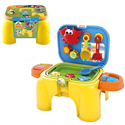 Mesa de arena para niños, arena de playa y mesa de agua para niños Mesa de actividades con caja de arena Mesa sensorial Mesa de juguetes de playa Mesa sensorial Juguetes de playa para niños