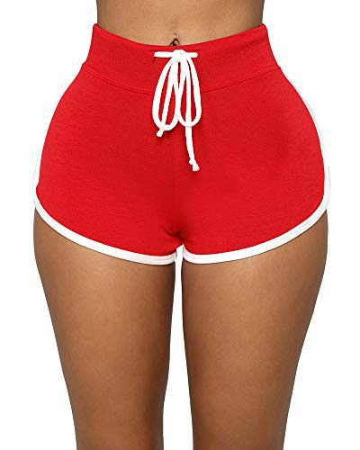 BEAGIMEG Women's Workout Yoga Elastic Waist Running Booty Hot Pants Control Gym Shorts Red