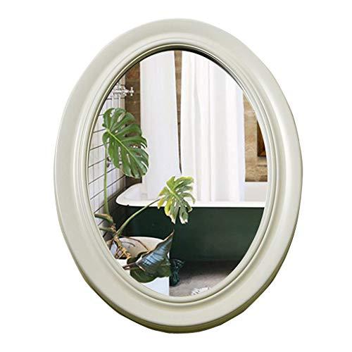 AJS Maquillage Miroir Rond Nordique Pour Miroir De Vanité Mural Blanc Pour Salle De Bain | Miroir De Maquillage De Salon/Chambre À Coucher Design Unique Mur 54x79cm (21.3 ″ X31.1 ″) A+