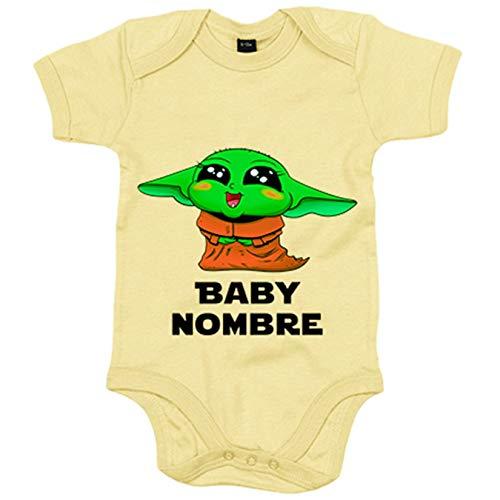 Body bebé personalizable con nombre del bebé parodia adorable baby yoda kawaii - Verde, 6-12 meses