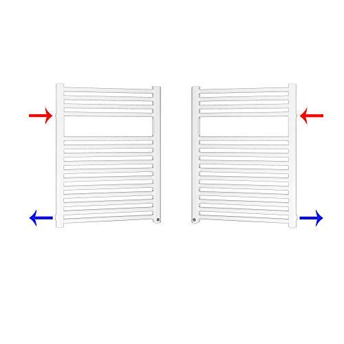 Austausch Badheizkörper Bad Renovierung Heizkörper mit Seitenanschluss Nabenanschluß (0764 x 600 (Anschlussmaß 500) mm)