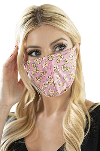 Reusable Fabric Face Mask Covering Unisex - Cute Print Cloth Washable Breathable Mouth Shield Protection Men Women (Pointy/Ear Loop - Floral Mari Rose)