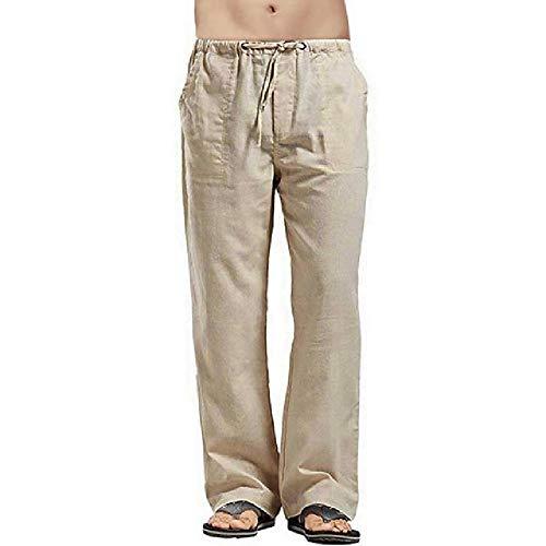 Verano Otoño de los Hombres Pantalones Casual para Hombre Pantalones Delgados de Lino Sueltos de Cintura Elástico Pantalones de