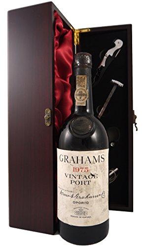 Grahams Vintage Port 1975 en una caja de regalo forrada de seda con cuatro accesorios de vino, 1 x 750ml