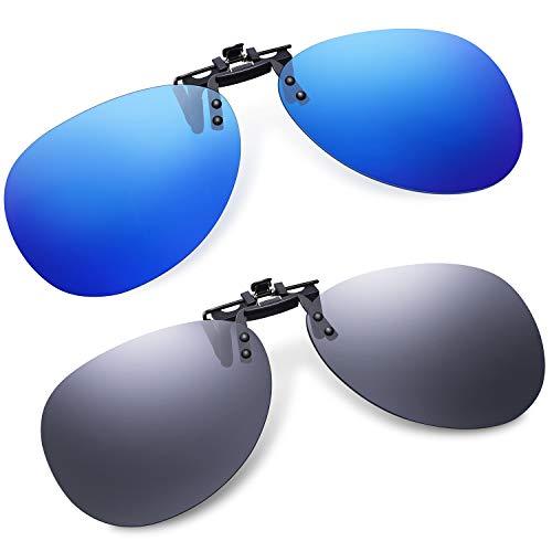 Clip-On Aviator Sunglasses Polarized for Driving - 2 Packs Unisex Flip-Up Pilot Lens for Men Women Prescription Glasses