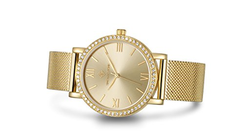 Timothy Stone I-012-ALMGD Indio Damen-Armbanduhr, Gold - Swarovski Kristall verschönert Lünette Quarzwerk Netzarmband - Damenuhr